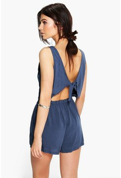 Womens Navy Basic Tie Back Playsuit
