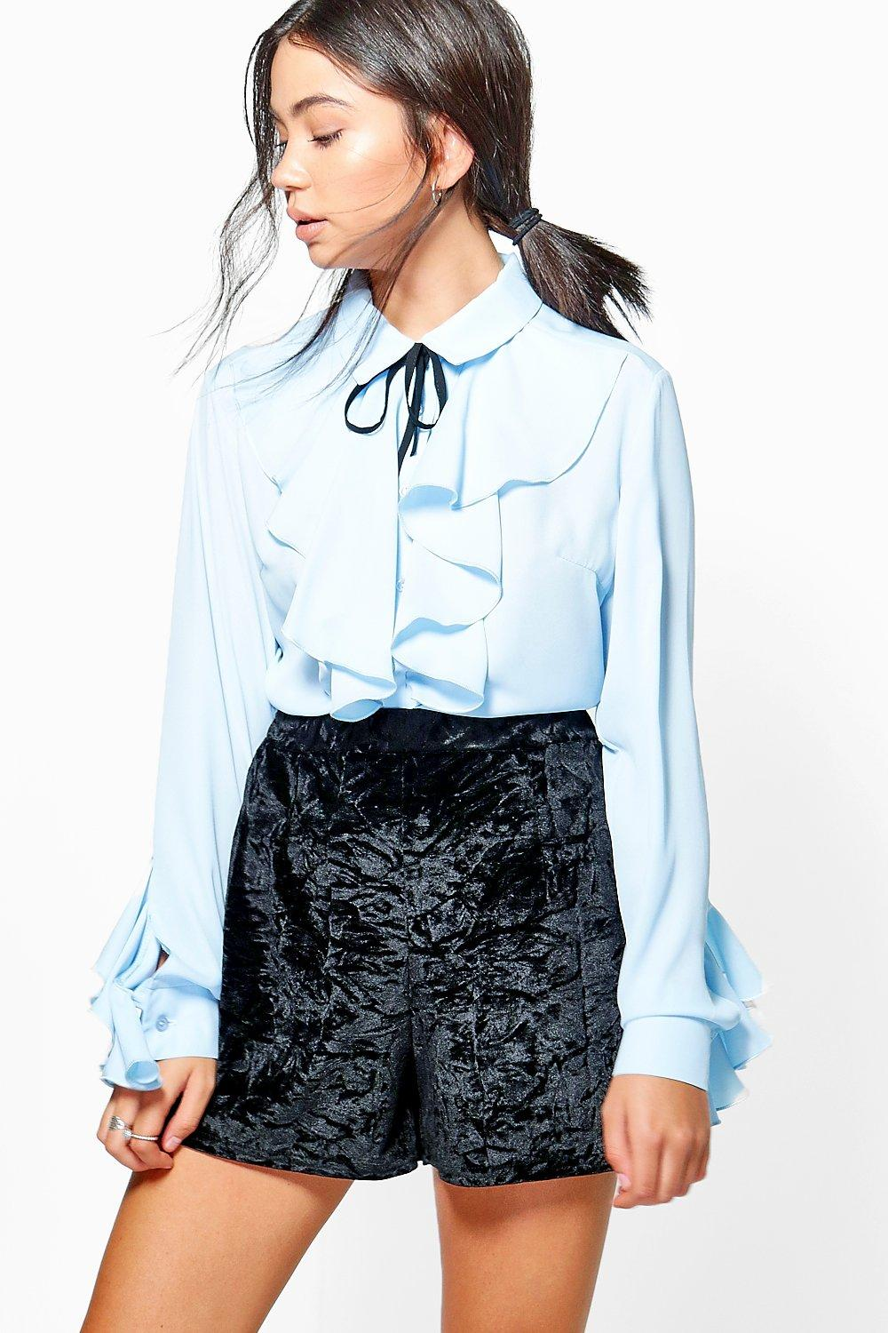 29e4fa84b9af7 Lauren Ruffle Tie Neck Blouse. Hover to zoom