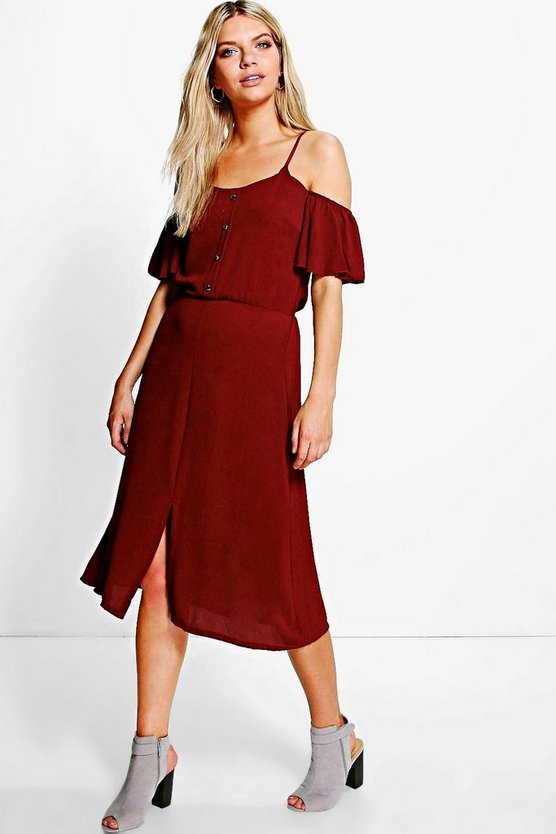 Woven Cold Shoulder Midi Dress
