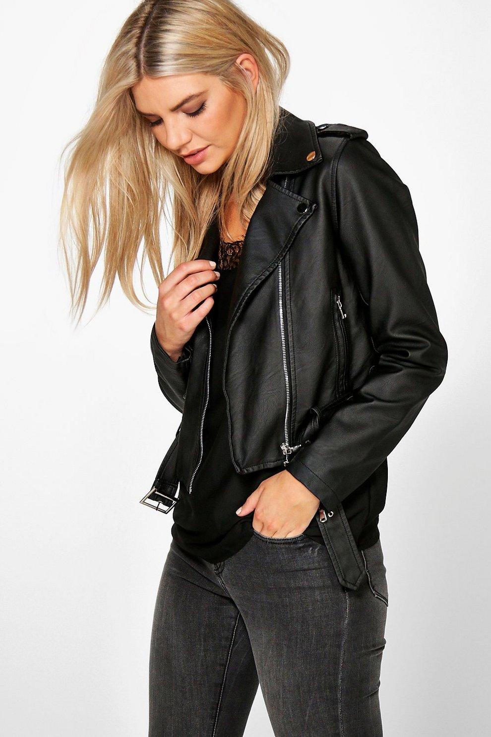 eb6525af1 Alisha Faux Leather Biker Jacket With Belt