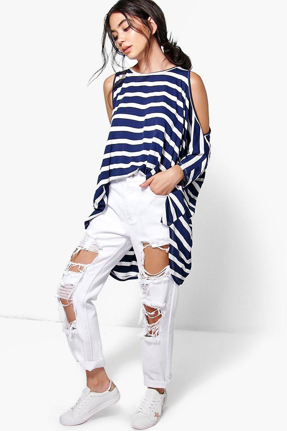 9039eda10d828 Kate Stripe Oversized Cold Shoulder Top