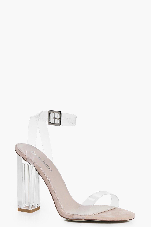 Suedette Clear Block Heels | boohoo