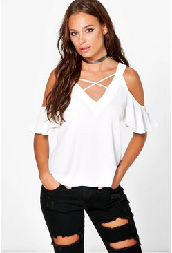Womens Ivory Sasha Cold Shoulder V Neck Woven Top