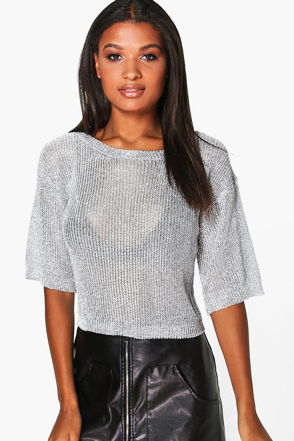791a41cdec4200 Charlotte Short Sleeve Metallic Knit Top. Hover to zoom