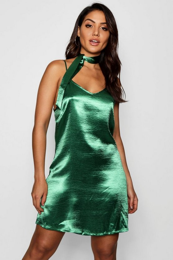 Tie Neck Satin Slip Dress
