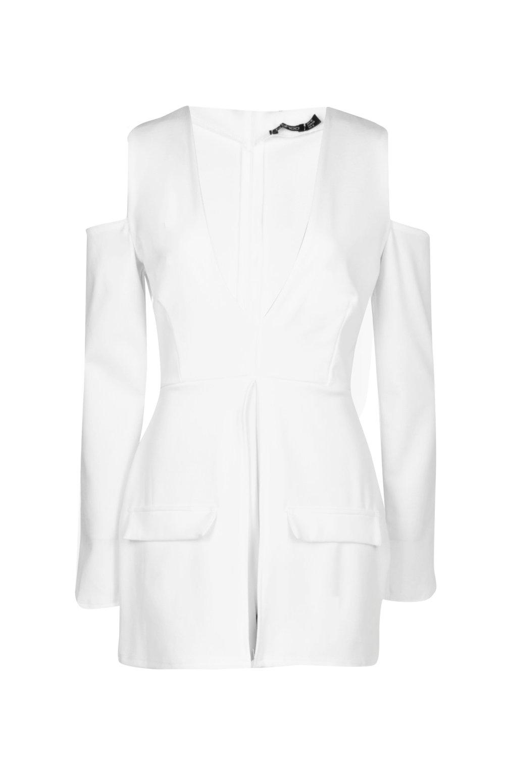 2907d02974 Boohoo Womens Lois Blazer Style Cut Out Shoulder Playsuit