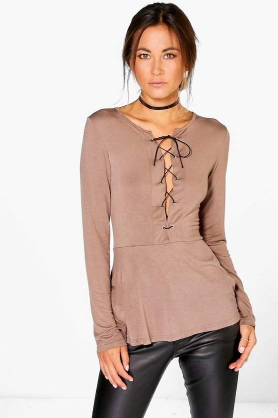 Patrice Lace Up Peplum Top