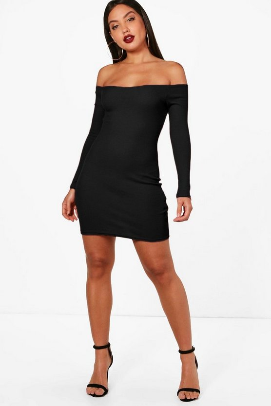 Womens Black Lacey Rib Off Shoulder Bodycon Dress