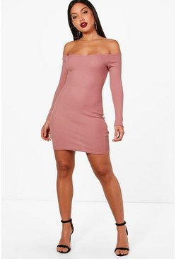 Womens Mink Lacey Rib Off Shoulder Bodycon Dress