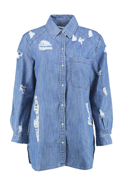 muy medio extragrande desgastada Azul denim Camisa wqPp57XvnX