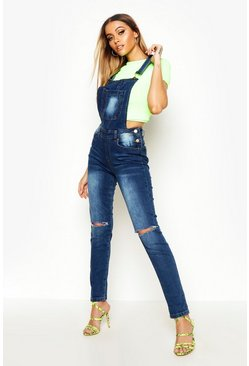 Womens Mid blue Knee Rip Denim Overalls