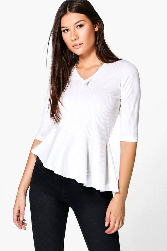 Lucy Rib Peplum 3/4 Sleeve Top