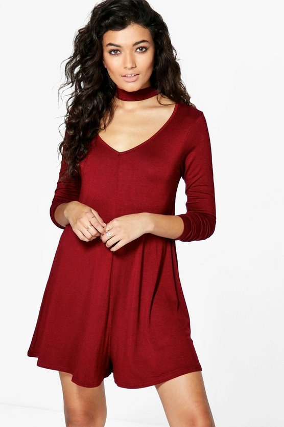 Ava Long Sleeve Choker Style Playsuit