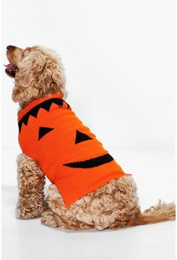 Orange Morticia Halloween Pumpkin Dog Jumper
