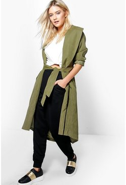 Womens Khaki Grace Belted Lightweight Duster