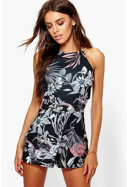 Womens Multi Rose Dark Floral High Neck Romper