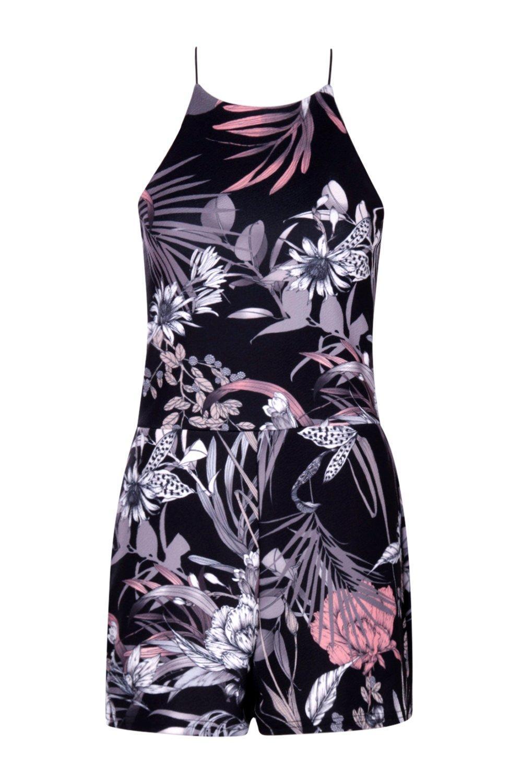 floral alto Mono rose corto con cuello Multicolor oscuro wp55ZFqnSx