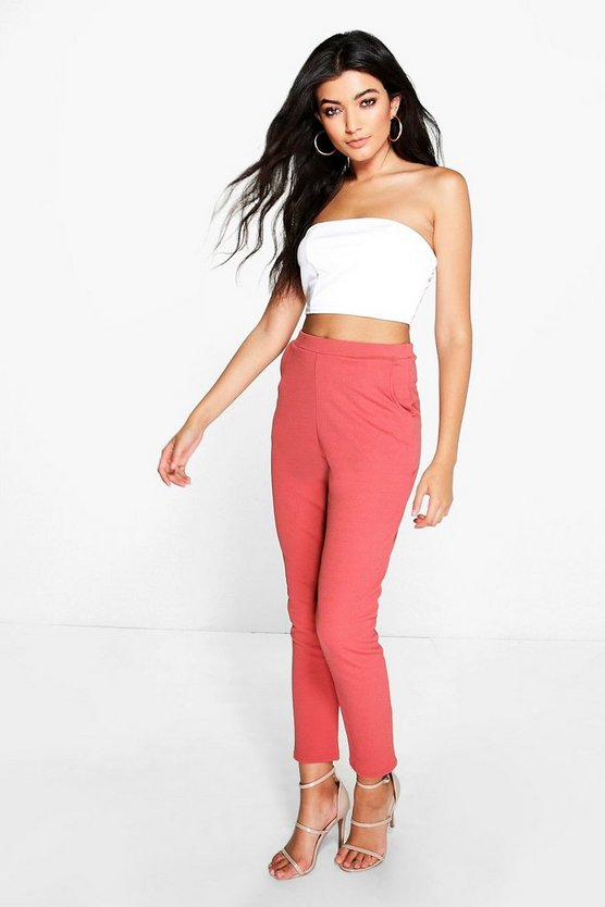 Womens Antique rose Basic Crepe Super Stretch Skinny Pants