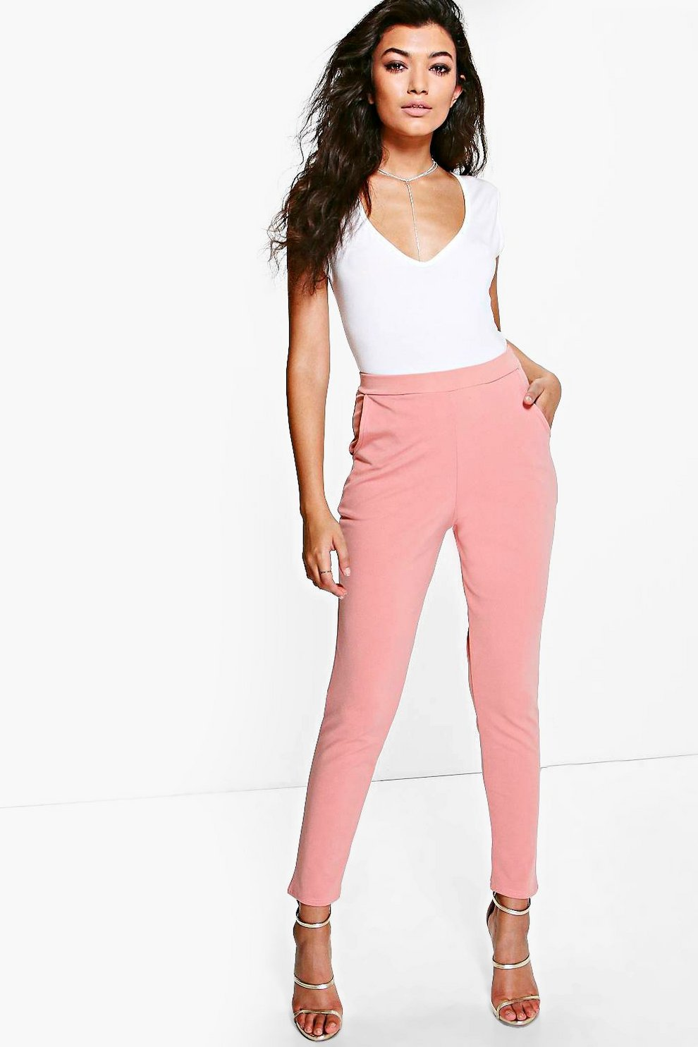 caccd27c5cd2a Womens Coral Basic Scuba Super Stretch Skinny Trousers