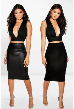 Womens Black Amaya 2 Pack Leather Look & Jersey Midi Skirt