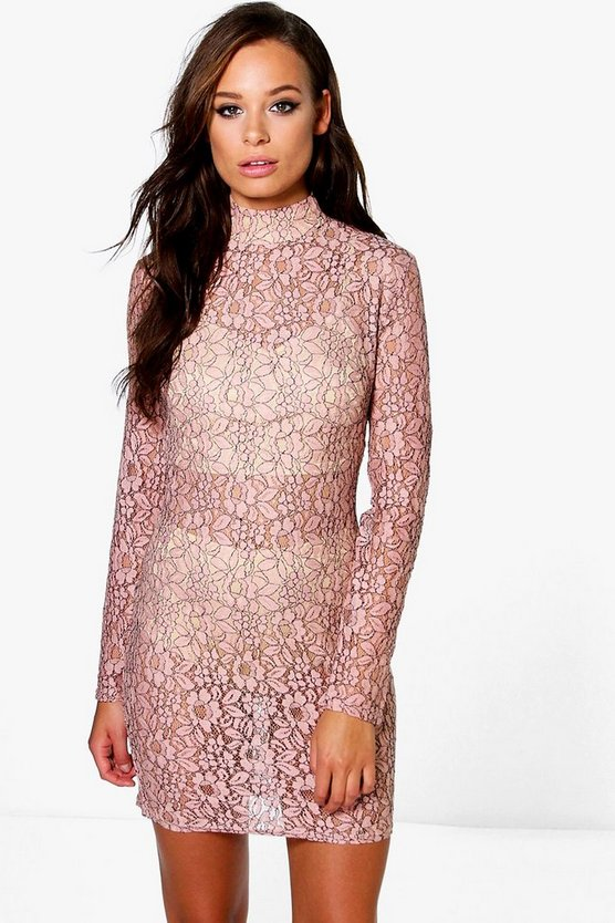 Emiko High Neck All Over Lace Bodycon Dress