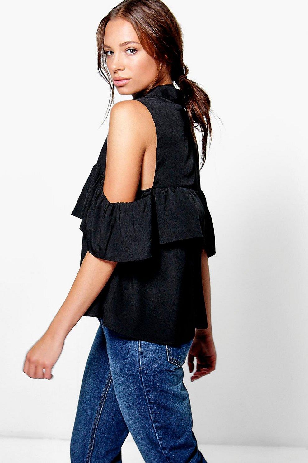 426b04ce9d520 Lara Woven Ruffle Cold Shoulder Top