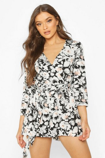 Multi Wrap Front Floral Print Playsuit