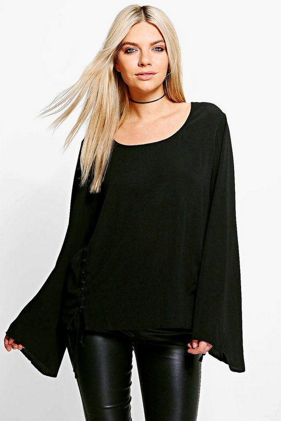 Eliza Lace Up Woven Long Sleeve Top