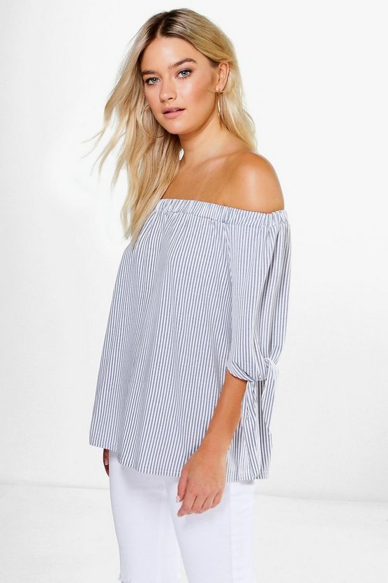 Hanaah Tie Sleeve Striped Jersey Bardot Top