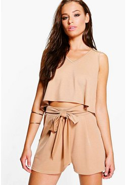 Womens Tan V Neck Top + Tie Short Co-Ord
