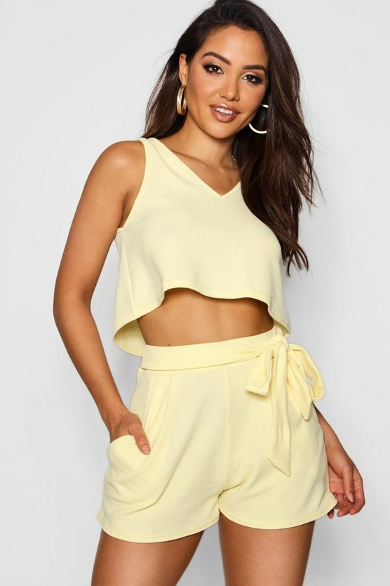 V Neck Top + Tie Short Co-Ord