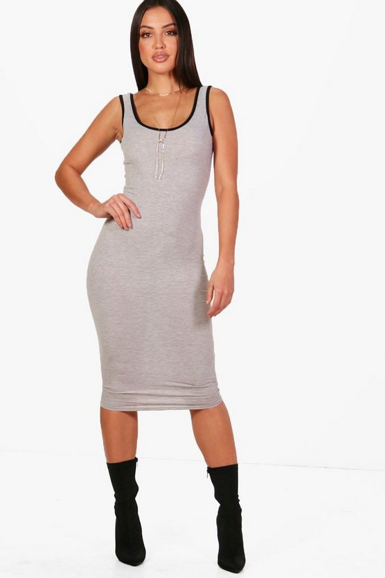 Contrast Binding Midi Dress