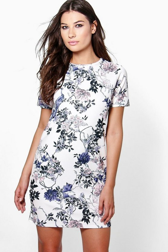 Womens Ivory Gia Crewneck Cap Sleeve Floral Shift Dress