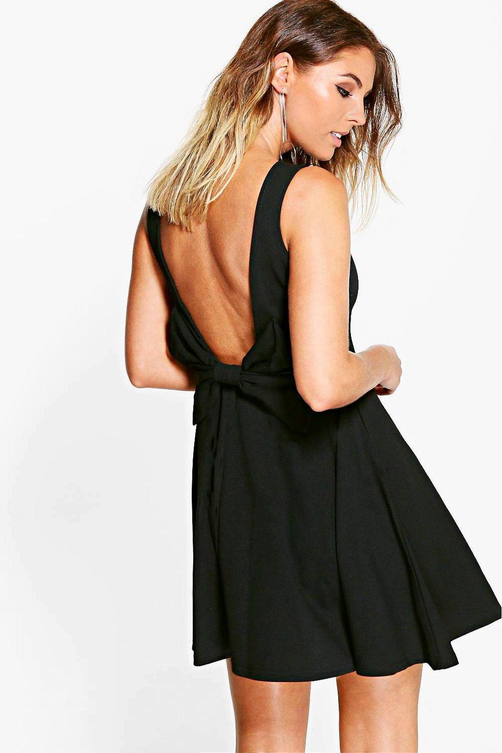 Bow Detail Scoop Back Skater Dress  e2d8cd4b9