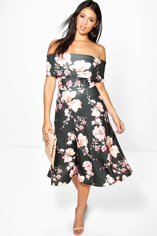 ea8d6f307079 Danielle Floral Bardot Midi Skater Dress