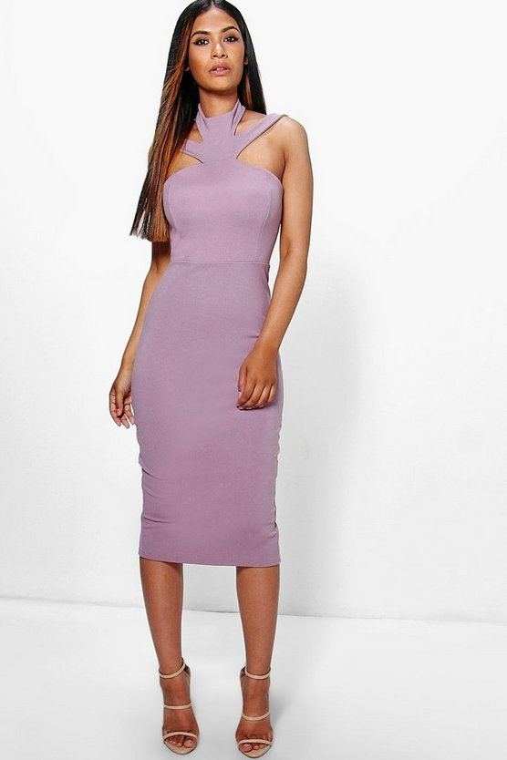 Sara High Neck Strappy Midi Dress