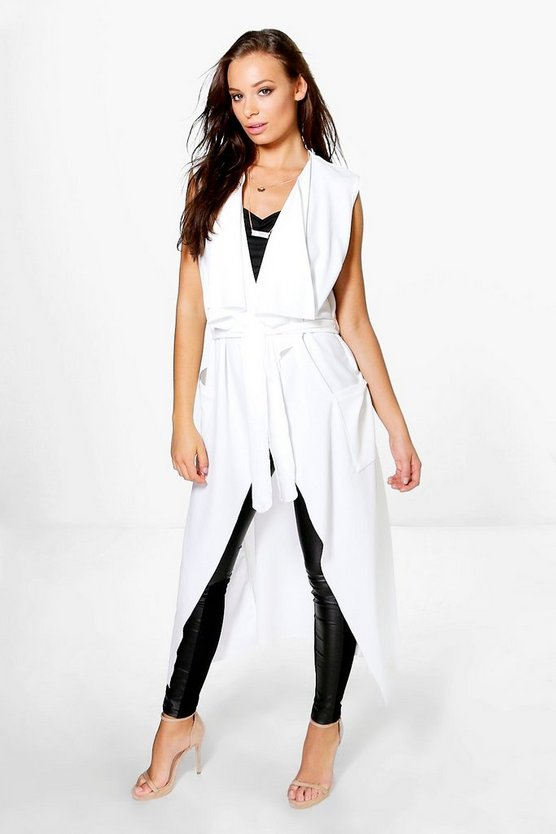 Womens Cream Alisha Sleeveless Belted Duster