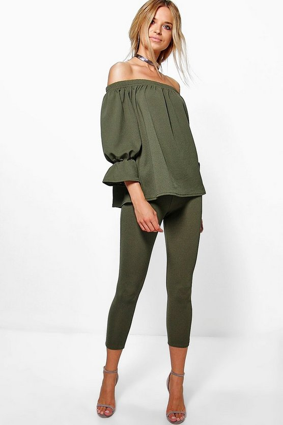 Oliva Off The Shoulder Top & Skinny Trouser