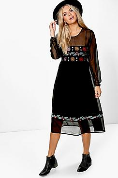 500 Vintage Style Dresses for Sale Boutique Elvira Embroidered Midi Dress $52.00 AT vintagedancer.com