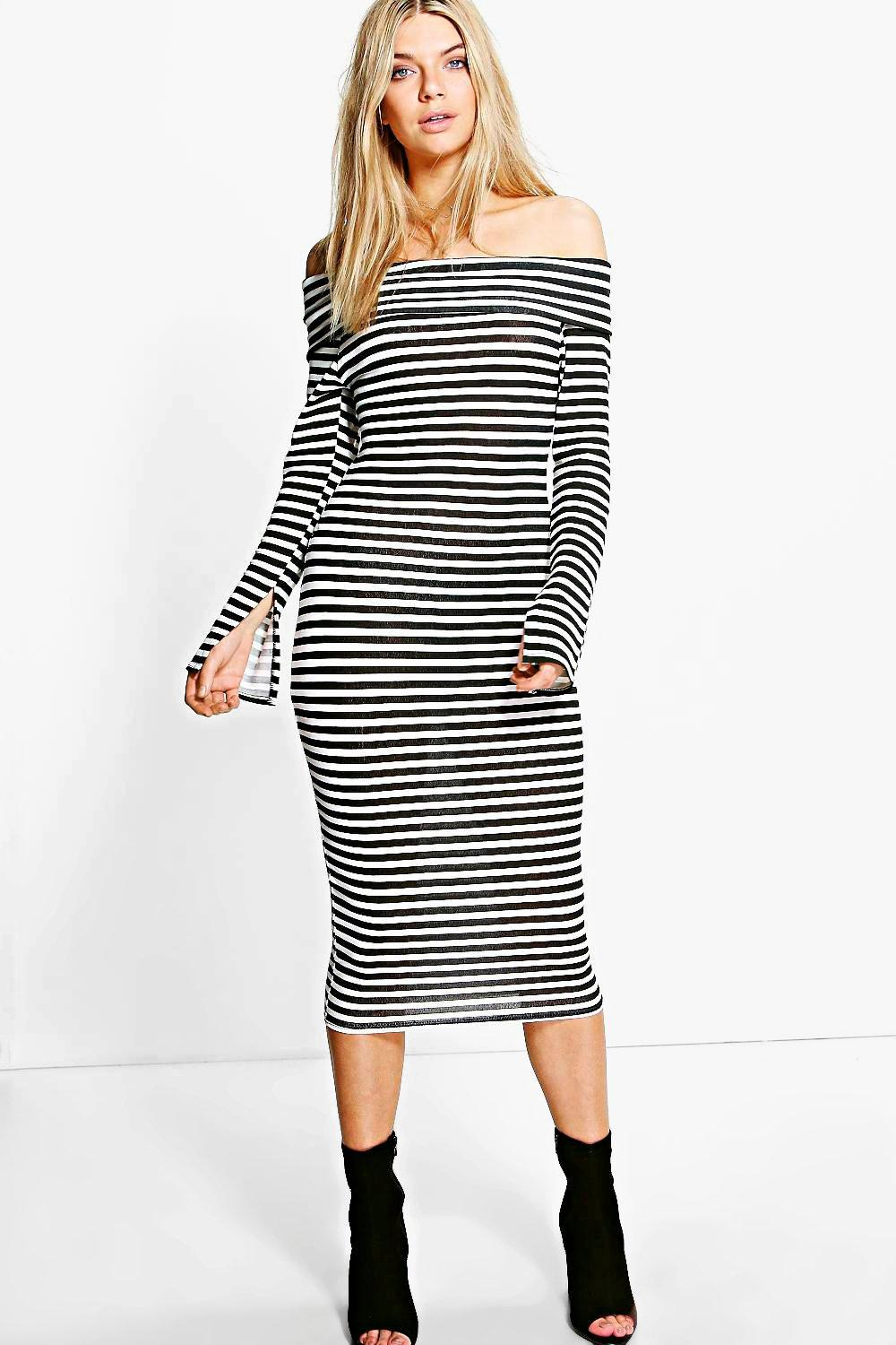 cf80fb0dfd22 Charmaine Off Shoulder Striped Midi Dress. Hover to zoom