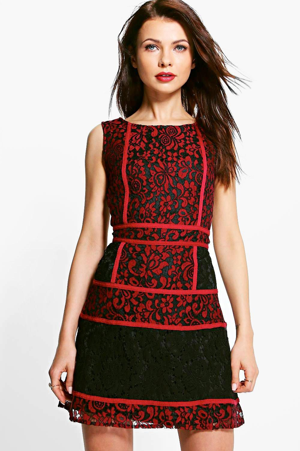 14b16bacec98 Womens Red Emily Corded Lace Panelled Open Back Dress. Hover to zoom
