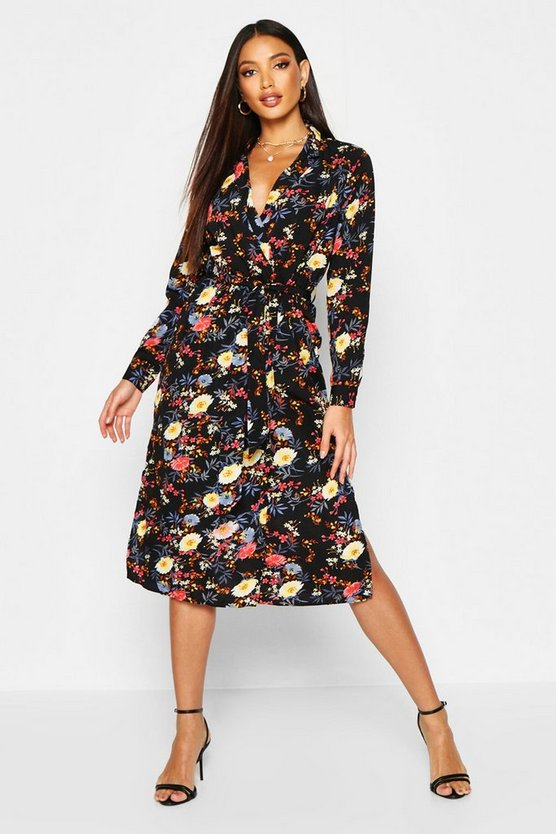 Womens Black Floral Printed Maxi Shirt Dress