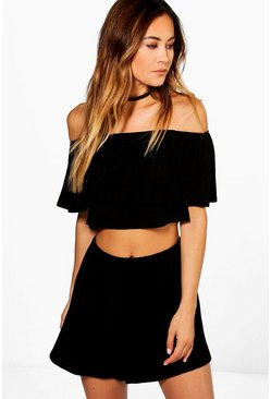 Womens Black Off The Shoulder Top + Short Co-ord