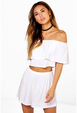 Cream Off The Shoulder Top + Short Co-ord Set