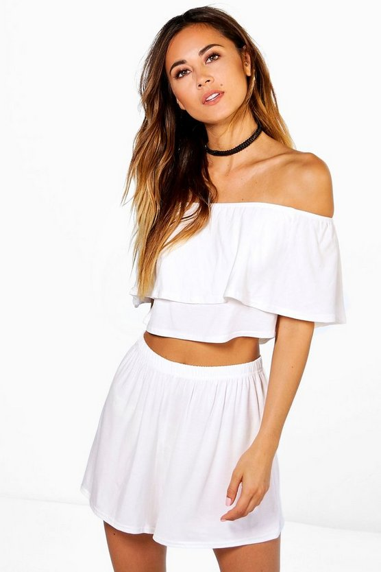 Womens Cream Off The Shoulder Top + Short Co-ord