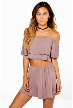 Mocha Off The Shoulder Top + Short Two-Piece Set