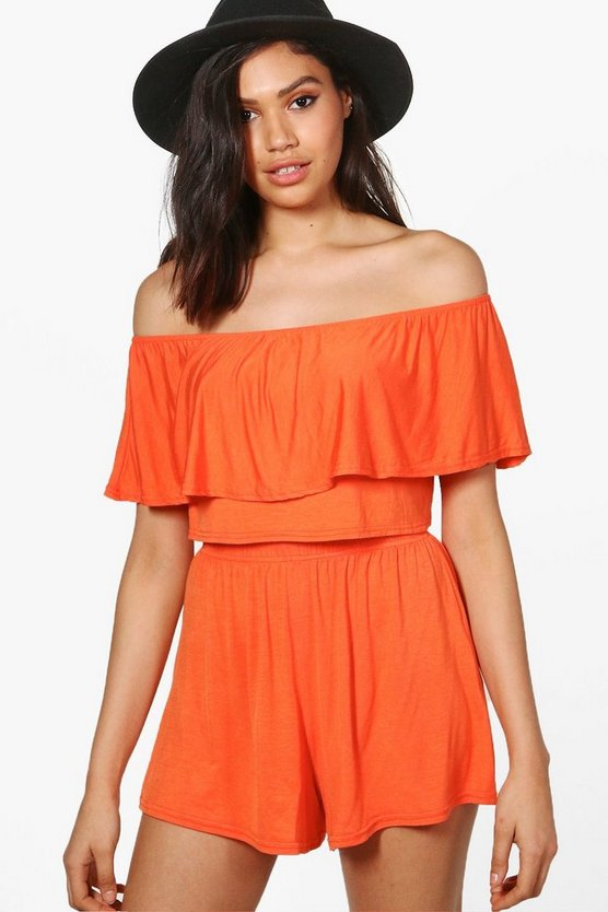 Womens Orange Off The Shoulder Top + Short Co-ord