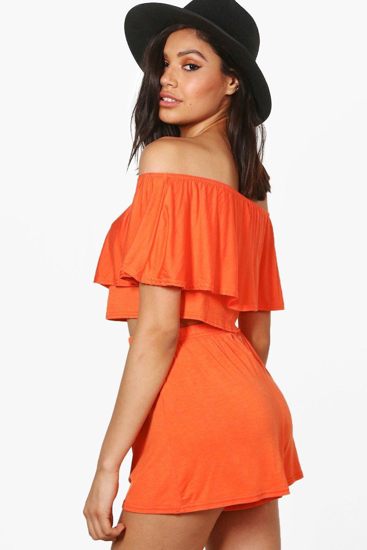 hombros descubiertos Naranja con top cortos y pantalones de Conjunto XqwfY80n