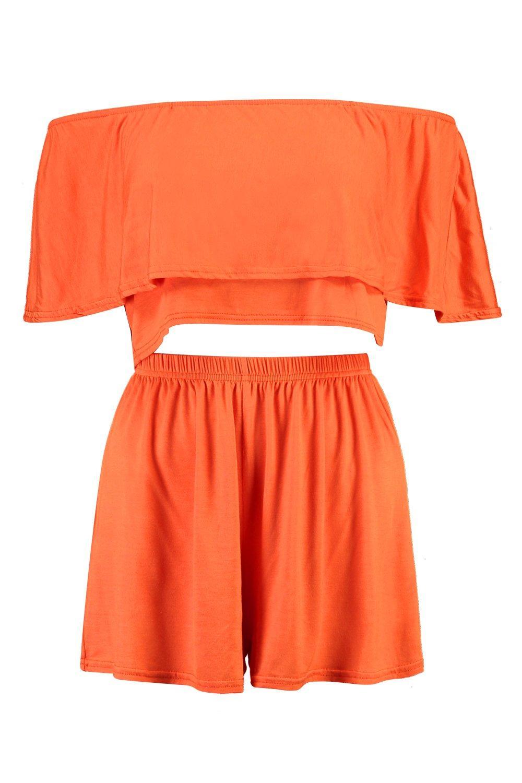 pantalones de top cortos con hombros y Conjunto Naranja descubiertos 5AWOx45