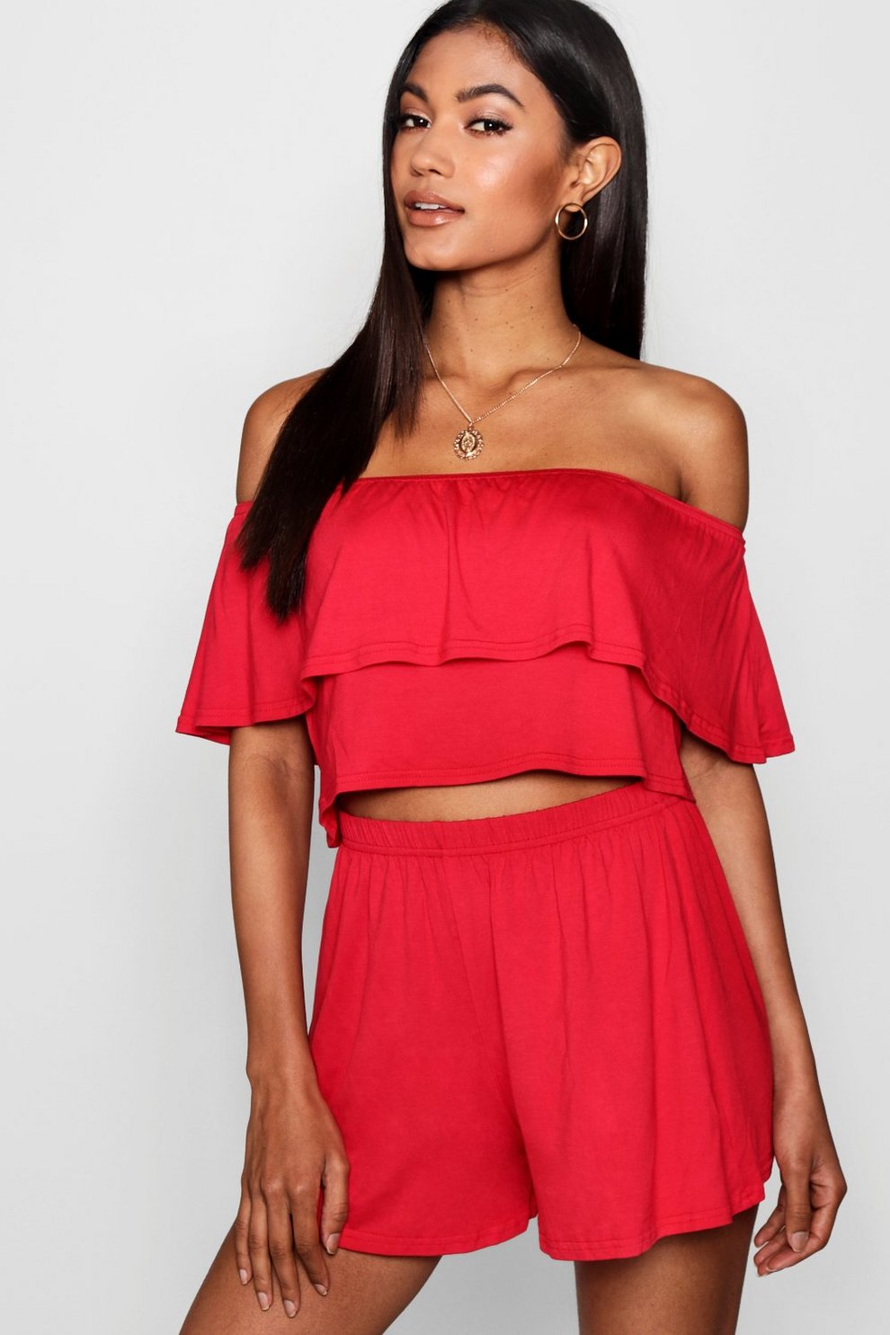 b16f062625fc18 Off The Shoulder Top + Short Co-ord | Boohoo